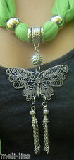 Jewellery Pendant Scarf Jewelry Necklace Scarves-Silver Metal Butterfly Pendant