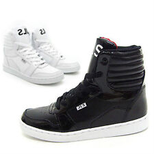 Mens Black White Shiny High Top Sneakers Footwear Mans Ankle Boots Trainers Shoe