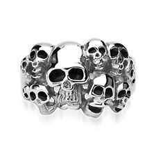 Stainless Steel Biker Ring with Ten Skeleton Skull Heads 913118-Noureda