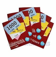 RAFFLE TICKET NUMBERED 1-1000 BOOK CLOAKROOM TOMBOLA BINGO SECURITY TICKETS