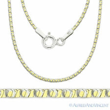 Sterling Silver & 14k Yellow Gold 1mm 4-Sided Snake Link Italian Chain Necklace