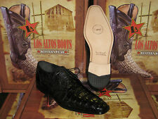 MENS GENUINE AUTHENTIC BLACK CAIMAN CROCODILE BELLY DRESS SHOE (D) ZVD882051