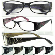 (L351)Lazer Dot Design Detail Plastic Reading Glasses/Flexi Hinge/5 Colours