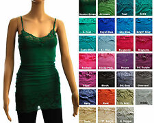 Spaghetti Strap Plain Long LACE Trim TANK TOP Layering Cami Sz S, M, L