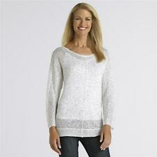 Jaclyn Smith  Women's Sequined Knit Top - Egret (Choice of Sizes) **New**