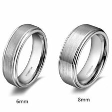 Men's Titanium Ring Wedding Band Brushed Center Comfort Fit  8mm Half Sizes