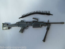 COLLECTOR'S METAL REPLICA DAEWOO K3 LIGHT MACHINE GUN BULLETS & STAND KEYRING UK