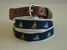 Mens Embroidered Leather Canvas Nautical Sailing Sailboats   pic your size NWT