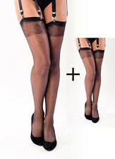 2 Pairs Sensible Black Nylon Stockings. Sheer Top Elegant Nylons