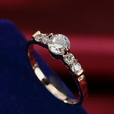 18K Rose Gold Plated High Quality Simulated Diamond Exquisite Wedding Ring
