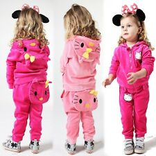 Baby toddler girls 2 pieces set hoodie+pants cartoon hello kitty hot pink age0-4