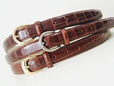 Real genuine ALLIGATOR skin leather Belt in Cognac brown sizes 34 36 38 40 42