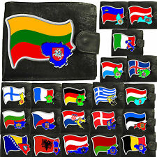 21 A to L Countries of Europe Flag Map and Emblem Mens Soft Leather Wallet gift