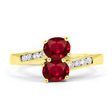 Authentic Ruby & Diamond Crossover Ring in 9ct Yellow Gold -  2mm