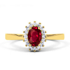 Natural 18K Yellow Gold Ruby & Diamond Halo Engagement Ring 0.16ct 2mm