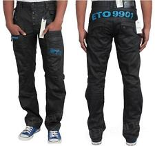 MENS BRAND NEW ETO JEANS BLACK COATED CLASSIC FIT STRAIGHT ALL SIZES 28 TO 40