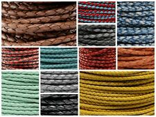 """Genuine Round Bolo Braided Leather Cord 3 MM 1/8"""" DIY Craft Jewelry Supplies"""