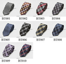 HQ New Casual Slim Check&Plaid Men's Skinny Neck Party wedding Tie Silk Necktie