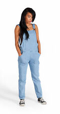 Womens Slim Leg Blue Denim Dungarees Bib Overalls