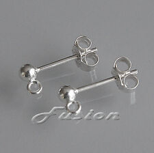 Sterling 925 Silver Earring Ear Posts & Scrolls Bead/Open Loop French Fittings