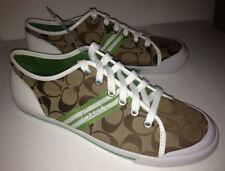 COACH Folly Logo Signature Canvas Casual Shoes Sneaker Khaki Green NEW Womens 9