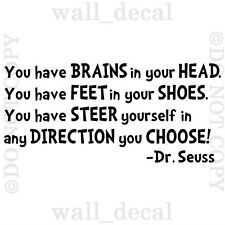 Dr Seuss Great Places Brains In Your Head Vinyl Wall Decal Sticker Quote Nursery
