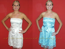 NEW WHITE AQUA BLUE BOOB TUBE BANDEAU WEDDING SKATER STYLE LACE DRESS 8 10 12 14