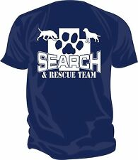 SAR - Search & Rescue: K9 SEARCH TEAM Screen Printed T-Shirt, NAVY BLUE