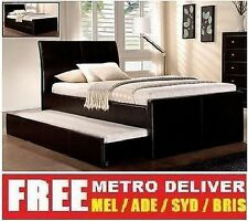 LECCA KING SINGLE SIZE W TRUNDLE BED BLACK WHITE BROWN PU LEATHER BED FRAME