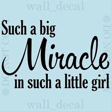 Such A Big Miracle Little Girl Wall Quote Vinyl Decal Decor Lettering Sticker