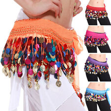 57 Coins Mixed-color Belly Dancing Sequins Hip Scarf Wrap Belt Skirt M0789
