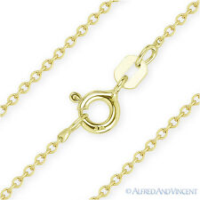 925 Sterling Silver & 14k Yellow Gold 1mm Thin Cable Link Italian Chain Necklace