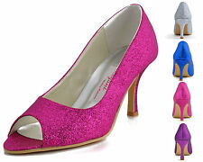 EP11072 Blue Women Peep Toe Party Pumps High Heel Glitter Prom Wedding Shoes