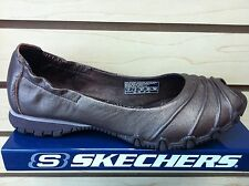 SKECHERS 47090 Women Peep Toe Flats Shoes Brown Leather Color US Size 5.5 to 10