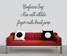 "Wall Sticker ""MAN W/ATHLETIC FINGER MAKE BROAD JUMP"" Quote Vinyl Decal CF-23-B2"