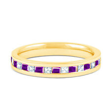 Natural 18 Carat Yellow Gold Amethyst & Diamond Eternity Ring Band 0.25ct 3mm