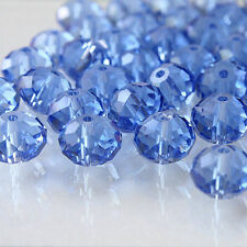 10 x FACETED RONDELLE SKY BLUE CRYSTAL GLASS BEADS 10MM x 8MM
