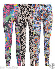 NEW LADIES WOMENS GIRLS LEGGINGS BANG SKULL AND FLORAL SIZE UK 8-14