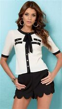 Lipsy 'Tie Neck' Buttoned Shirt - Cream/Black