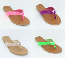 LADIES NEON PATENT T.POST SANDALS BY SPOT ON F0595