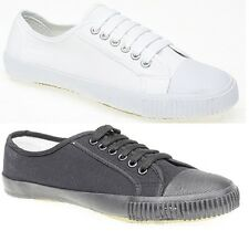 New Mens Ladies Unisex Black White School PE Pumps Plimsoll Plims Shoes Lace Up