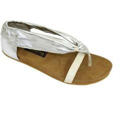 WOMENS SILVER LEATHER MOLDED SUEDE INSOLE MULES SANDALS FLAT SHOES SIZE 3-8