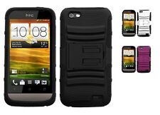 Advanced Impact Armor Rugged Protector Cover Case w/Kick Stand for HTC One V