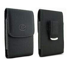 Leather VERTICAL Belt Clip Case Pouch for Cell Phones fits w/ MOPHIE Pack ON IT