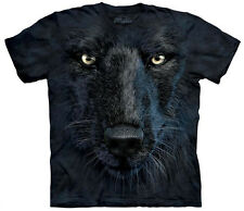 Black Wolf Face Adult  Animals Unisex T Shirt The Mountain