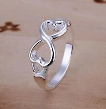 Bague coeurs style infini infinity plaqué argent, Multi tailles,  One direction