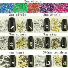 1000pcs 3D Design Nail Art Decoration Stickers Metallic Studs Gold & Silver Stud