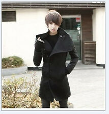 Korean Slim FIT Dust Coat Cultivate Morality Men's Fashion Wool Trench Coats