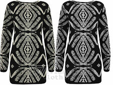 Ladies Womens Knitted Tribal Cross Style Jumper Top Knit Long Pattern Black Grey