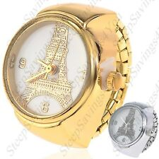 Creative Quartz Watch Ring Watch Timepiece with Eiffel Tower Pattern for Woman